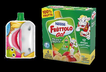 Frùttolo GO! Polpa di frutta Mela-Banana 4x90g