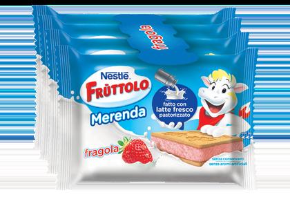Frùttolo Merenda con latte fresco e fragola
